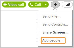 Option Ajouter du monde... qui apparaît lorsque vous cliquez sur le bouton Plus à droite du bouton Appeler.