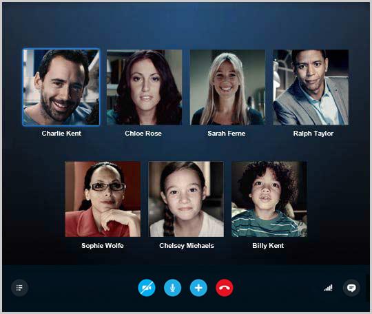 Ventana de videollamada grupal que muestra los contactos del grupo.