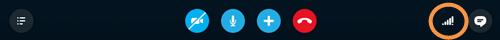 Icono de calidad de las llamadas en la parte derecha de la barra de llamadas.