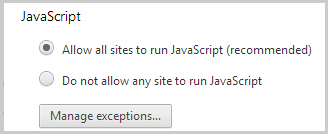How do i enable javascript in my browser for skype skype support allow all sites to run javascript recommended selected under javascript ccuart Images