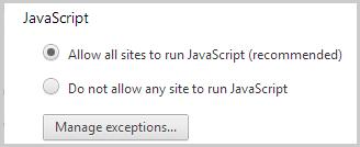 Opzione Consenti l'esecuzione di JavaScript in tutti i siti (consigliata) selezionata in JavaScript