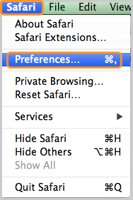 Preferences … selected under Safari.