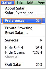 التفضيلات ... تم تحديدها ضمن مستعرض Safari.