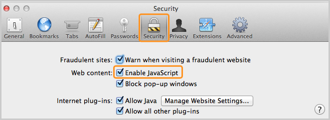 Enable JavaScript option checked in the Web content section of the Security tab.