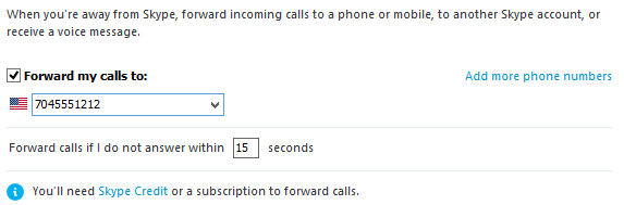 The Add more phone numbers link and the option for setting the amount of time for answering incoming calls selected.