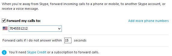 Collegamento Aggiungi altri numeri e opzione per l'impostazione del tempo, per rispondere alle chiamate in arrivo, selezionati.