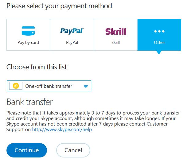 bank transfer payment option