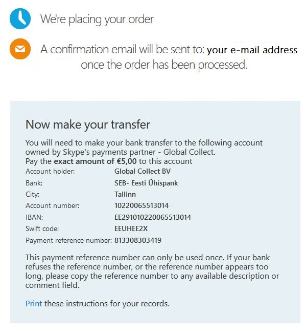 Confirm bank transfer