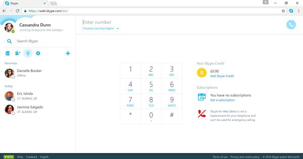 Skypen numerovalintanäppäimistö