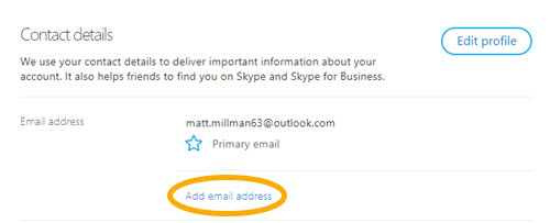 How do I add or change my primary email address in my Skype