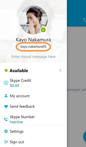 Skype name in Skype info