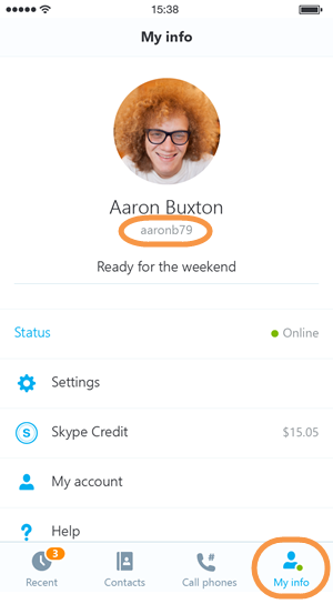 My info and Skype name in iOS