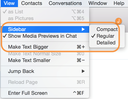 Skype view settings