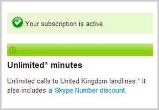 Description of the calling subscription for United Kingdom on the Skype account webpage.
