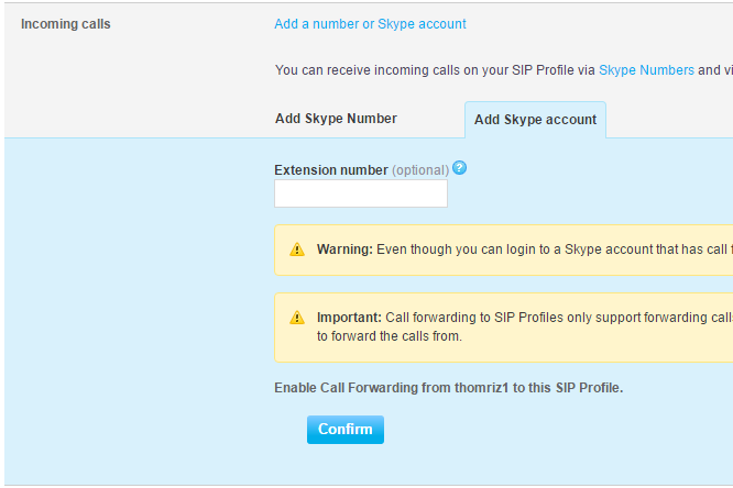 Add Skype account tab