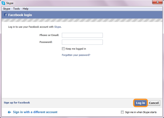 The Log in option selected in the Facebook login window