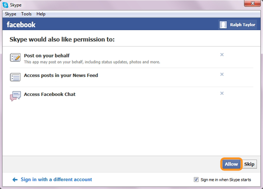 The Allow option selected to give your permission to Skype for accessing some of your Facebook features