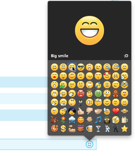 A lista de emoticons exibida na janela de conversa de mensagem instantânea.