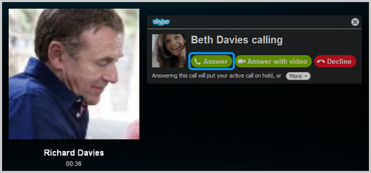 The Answer button selected in the incoming call window.