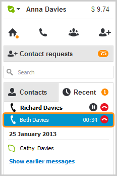 A highlighted call bar displayed in the Recent list.