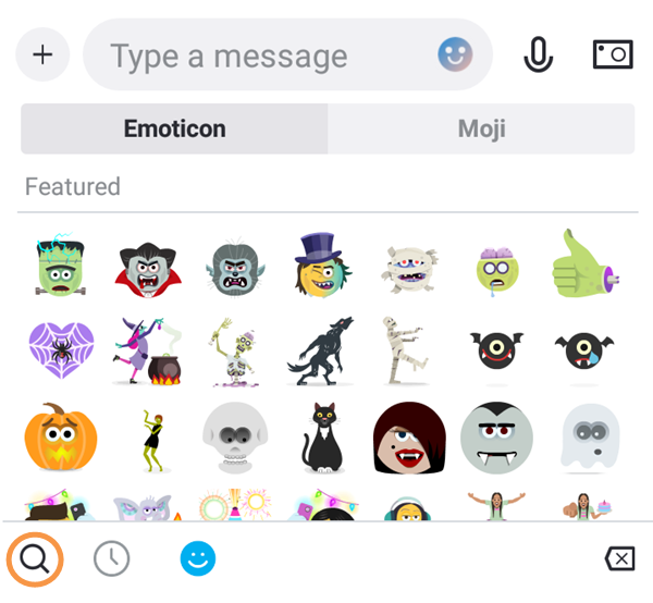 Search for emoticons or Mojis