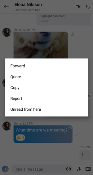 Message edit menu options