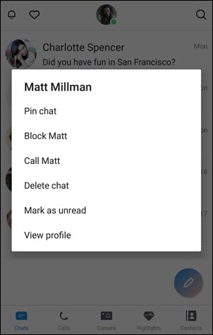 Block a contact on iOS and Android (6.0) and above