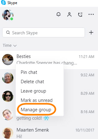 opção de menu Gerir grupo