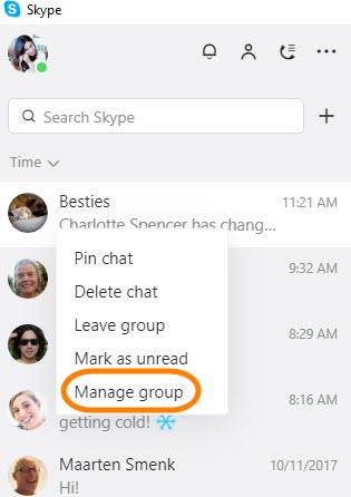 Manage group menu option