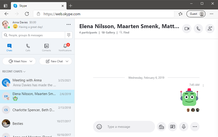 Main Web Skype screen