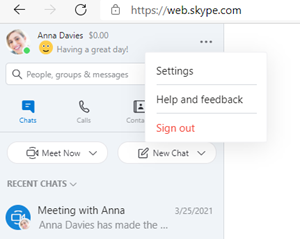 Web Skype more menu