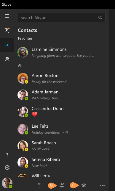 Call outs for Skype for Windows 10
