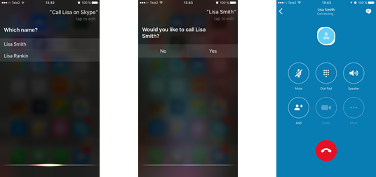 Making a Skype call using Siri