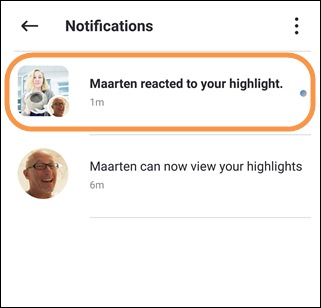 Reaction notification