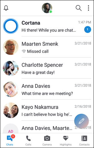 Chat screen on iOS and Android 6.0 and above