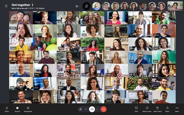 Large grid view with 49 video feeds screenshot