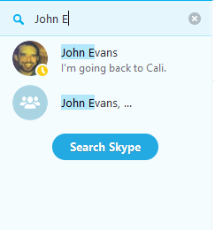 Search all people on Skype option selected.