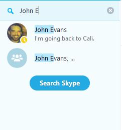 Вибрано параметр пошуку користувачів у Skype.