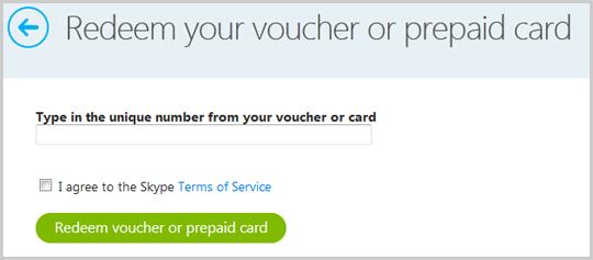 Caixa abaixo de Insira o número do voucher na página Resgatar voucher.