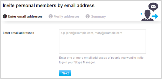 Invite personal members by email address screen