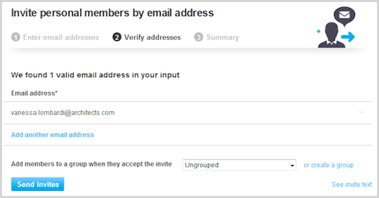 Verify addresses screen