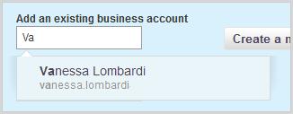 Cuadro Añadir una cuenta empresarial existente en la ficha Añadir cuenta empresarial.