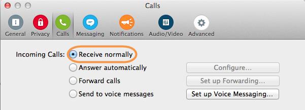 Calls preference panel