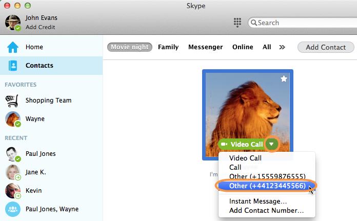Captura de pantalla del contacto seleccionado en la lista de contactos de Skype y el número de teléfono de ese contacto.