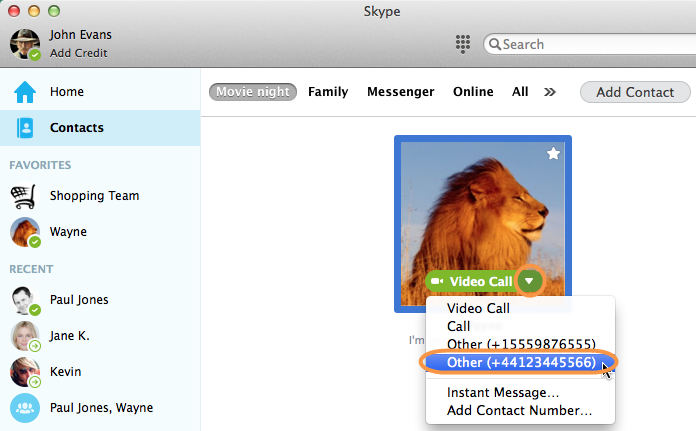 Skype連絡先リストで相手を選択し、その電話番号が表示された状態のスクリーンショット