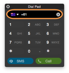 Screenshot of the Skype dial pad that allows you to enter phone numbers you want to call. Using the dial pad, you can send an SMS text message or make a call