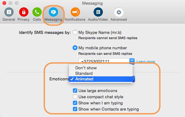 Option Standard sélectionnée dans la liste déroulante Emoticons (Émoticônes) sous les paramètres Messaging (Conversation).