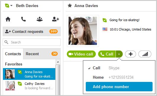 Пункт ''Додати номер телефону'' в розкривному меню, яке відображається після клацання зеленої стрілки на кнопці виклику.