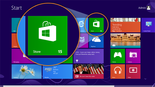 The Windows Store tile in the Start screen displaying the number of availble updates.