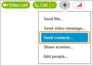Send contacts selected from the menu displayed after clicking the plus button.